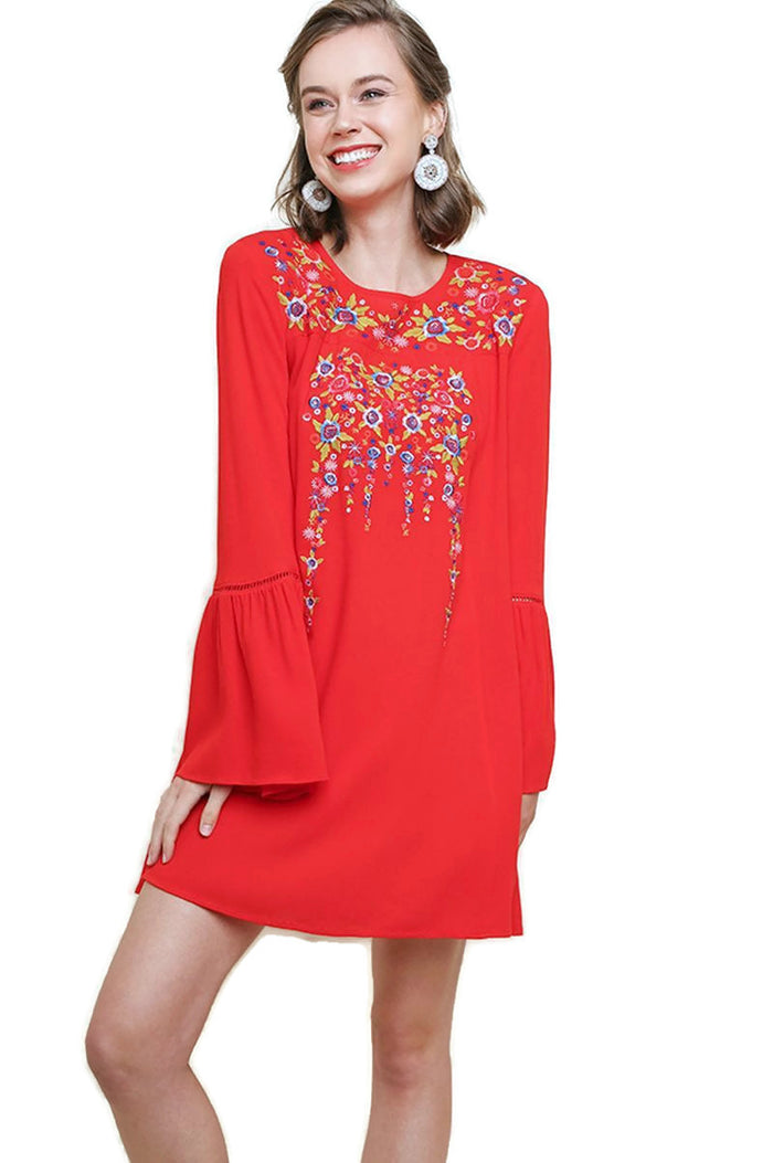 Floral Embroidered Bell Sleeve Mini Dress, Chili