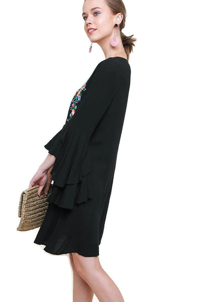 Layered Ruffle Sleeve Dress, Black