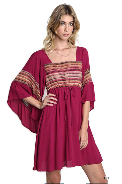 Criss Cross Back Bell Sleeve Dress, Orchid