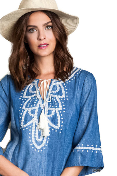 Embroidered Denim Dress, Blue