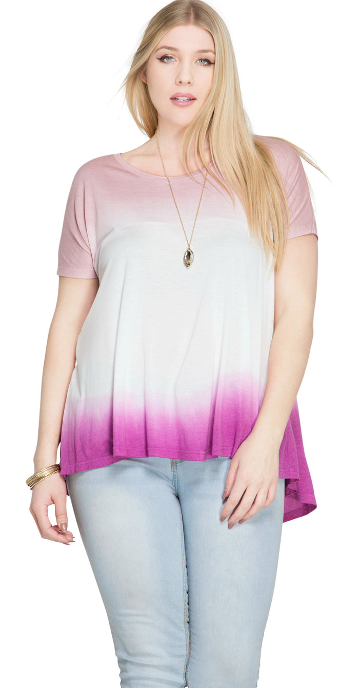 Ombre Short Sleeve Tunic Top , Magenta