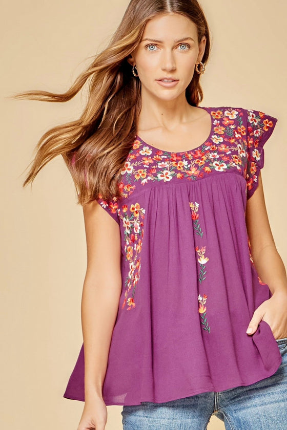Andree by unit / Savanna Jane Flutter Sleeve Embroidered Top
