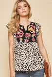 leopard embroidered top andree by unit