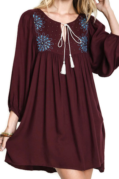 Cowgirl Peasant Dress, Plum