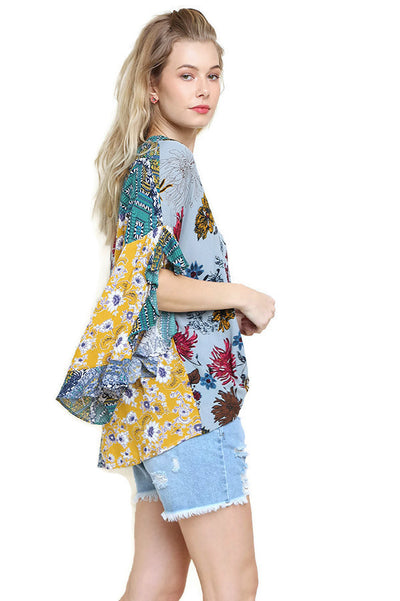 Floral Mixed Print Ruffled Sleeve Top, Sage Mix