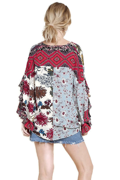 Floral Mixed Print Ruffled Sleeve Top, Vanilla Mix