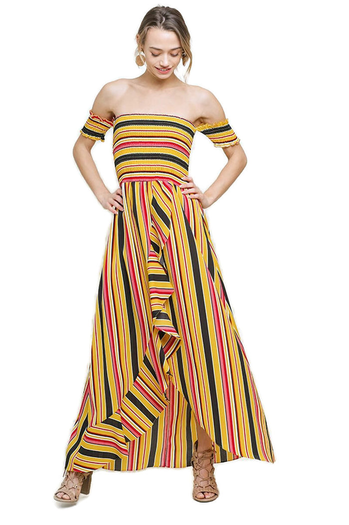 Striped Ruffle Tulip Maxi Dress, Sunray