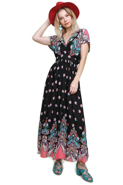 Floral & Paisley Crossbody Maxi Dress, Black Mix