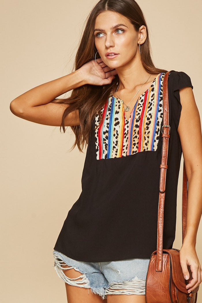 andree by unit leopard & serape embroidered top savanna jane
