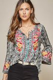 Snake Print Embroidered Top, Grey