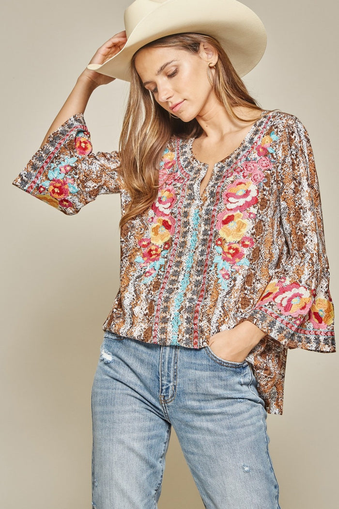 Snake Print Embroidered Top, Mocha
