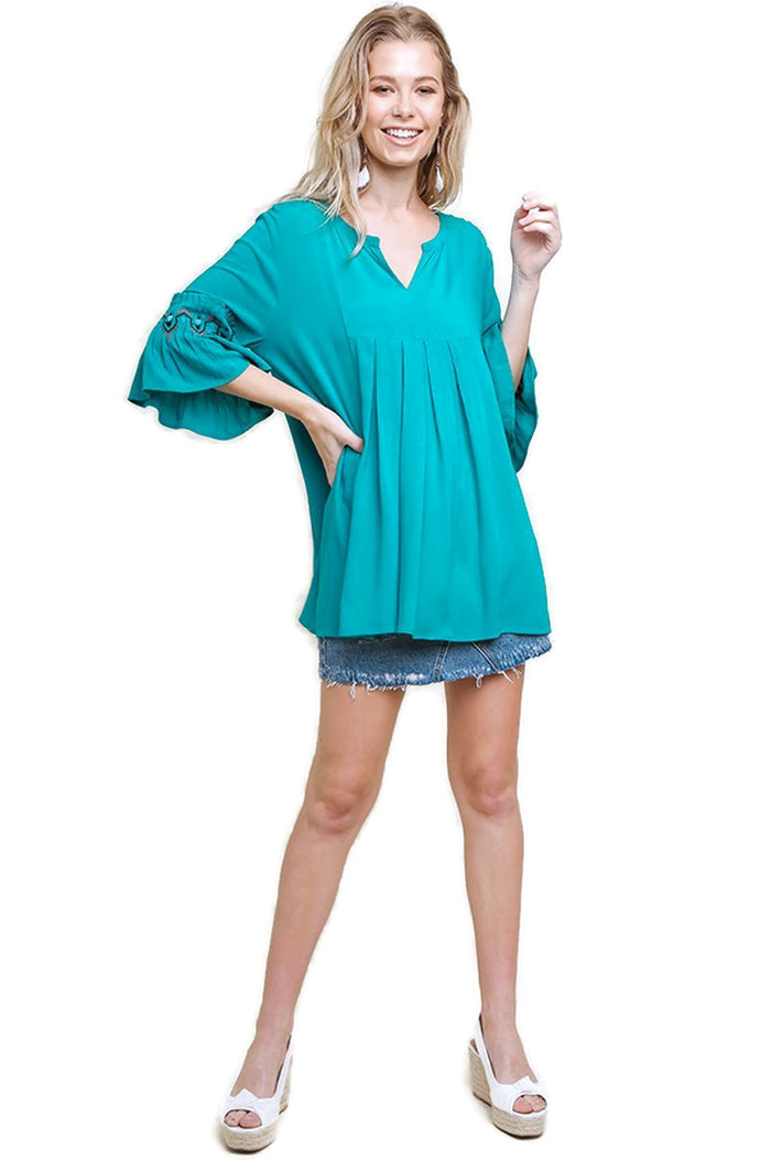 Embroidered Bell Sleeve Pleated Tunic, Teal