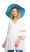 Embroidered Bell Sleeve Pleated Tunic, Off White
