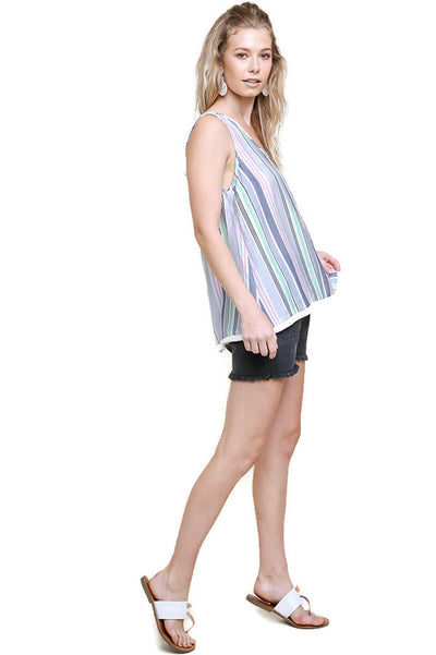 Multi-color Striped Frayed Top, Grey Green