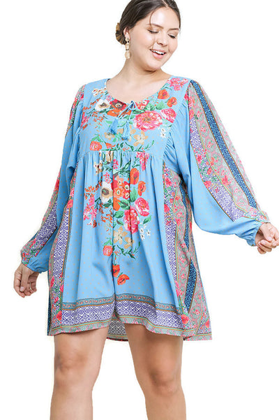 Blooming Floral Keyhole Dress, Blue Mix