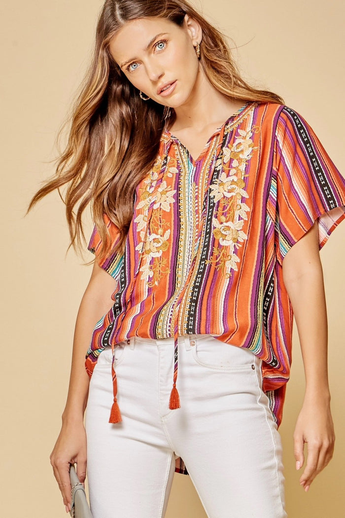Striped Short Sleeve Embroidered Top
