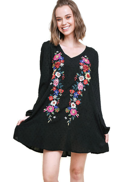 Swiss Dot Floral Embroidered Dress, Black
