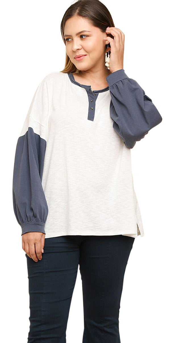 Henley Puff Sleeve Top, Off White