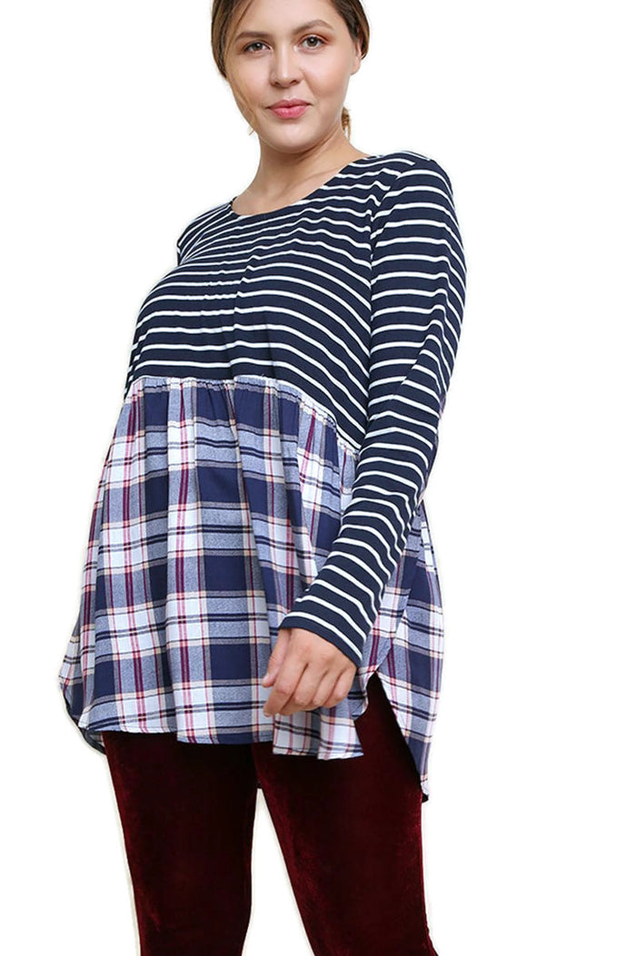 Striped & Plaid Babydoll Top, Navy
