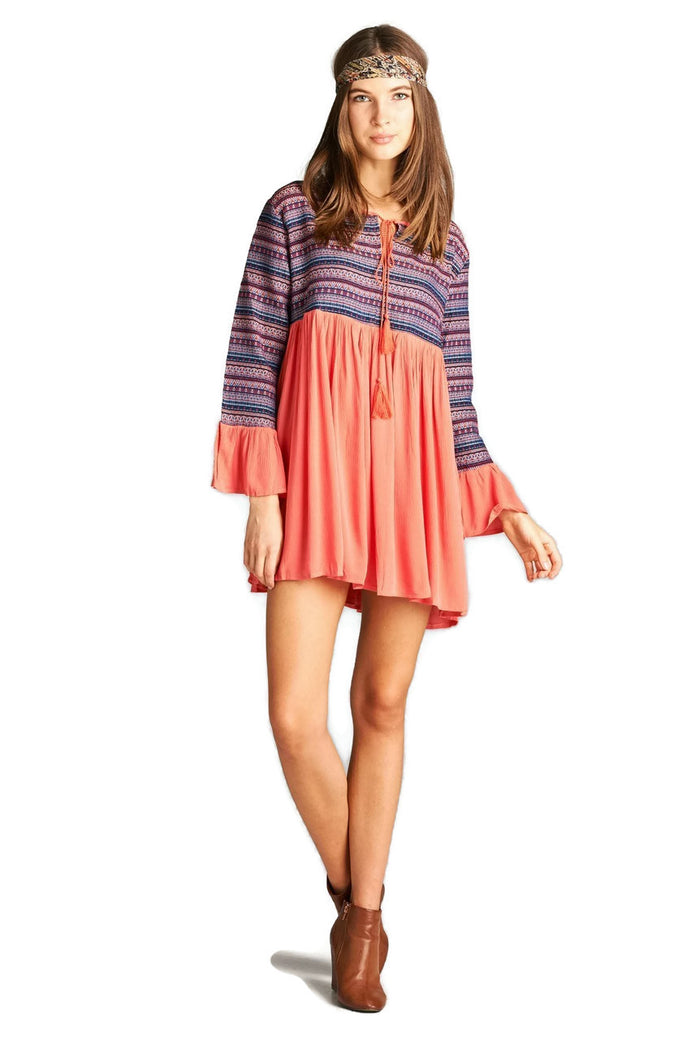 Tapestry Geometric Dress, Coral