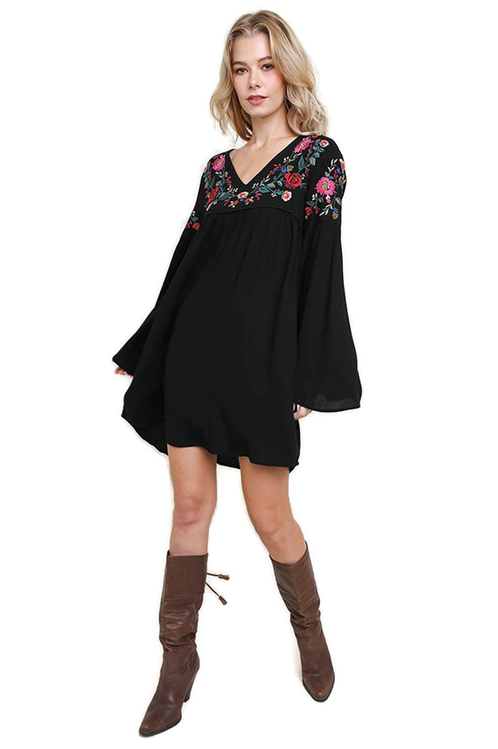 Embroidered Bell Sleeve Dress, Black