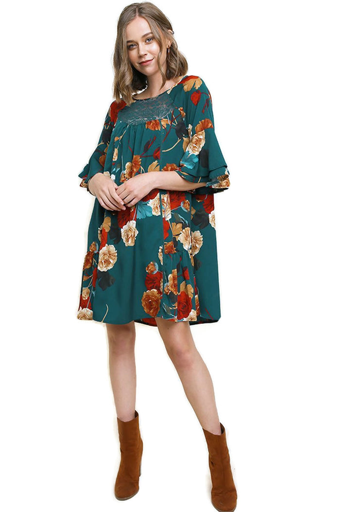 UMGEE FLORAL LAYERED BELL SLEEVE DRESS