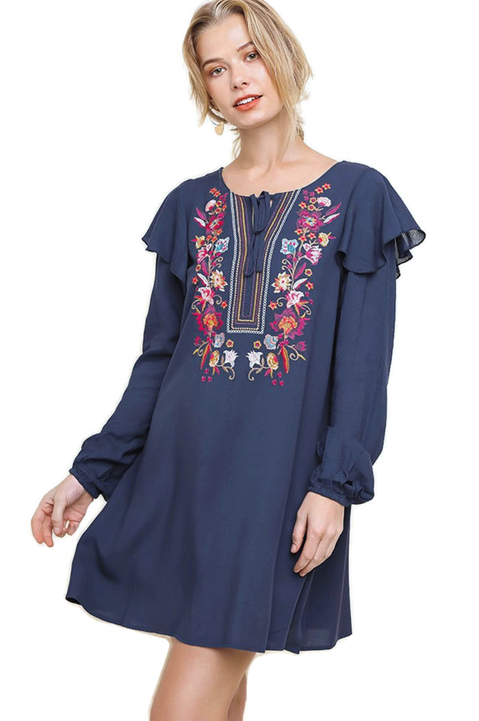 Floral Embroidered Puff Sleeve Dress, Navy