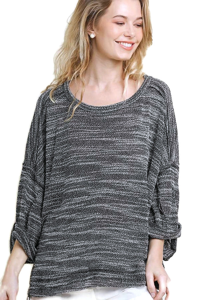 Heathered Roll Sleeve Top, Black