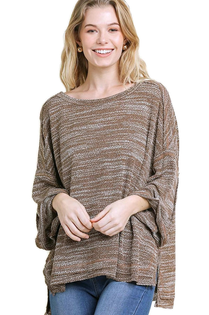 Heathered Roll Sleeve Top, Mocha