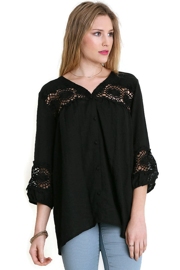 Lace Button Up Blouse, Black