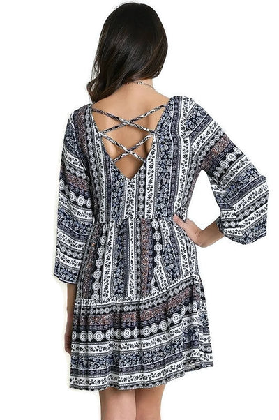 Cross Back Peasant Dress, Navy / White