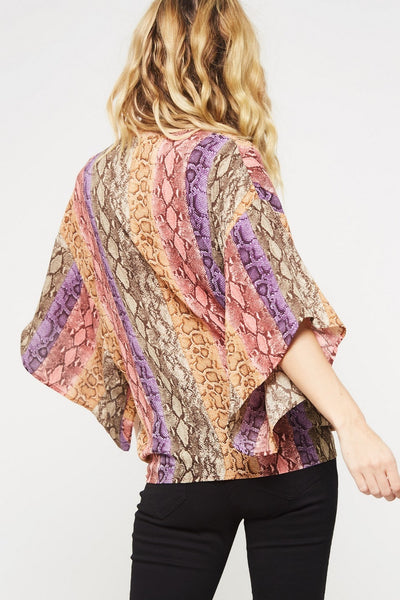 Snake Skin Kimono Blouse, Purple-Dusty Rose