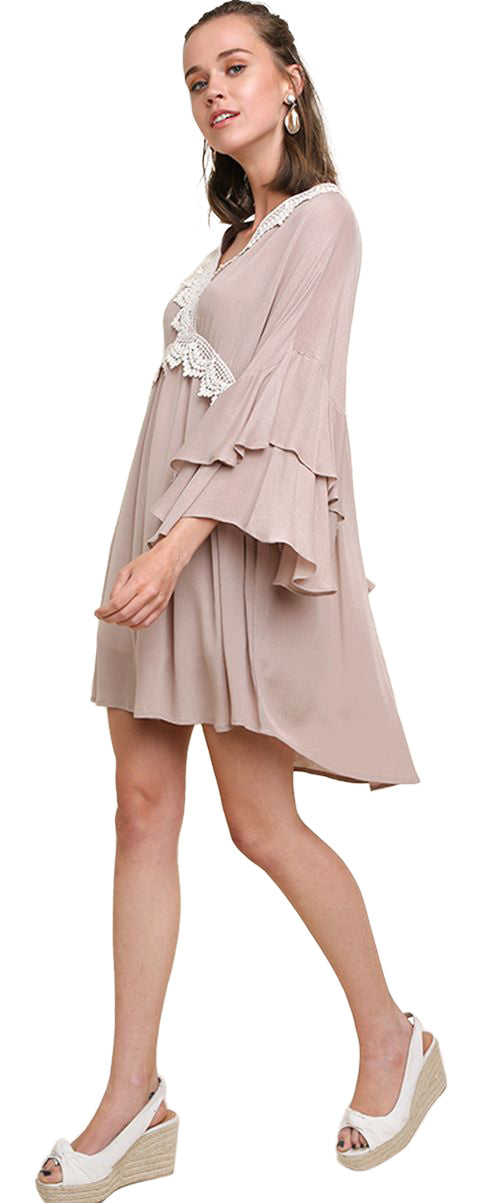 umgee layered ruffled bell sleeve crochet dress bohemian boho chic trendy modern