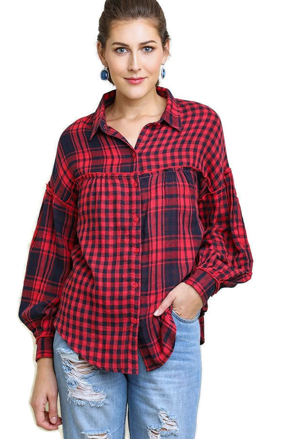 Plaid & Checkered Button Up Top, Red