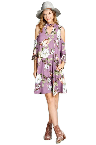 Floral Vibes Choker Swing Dress, Orchid
