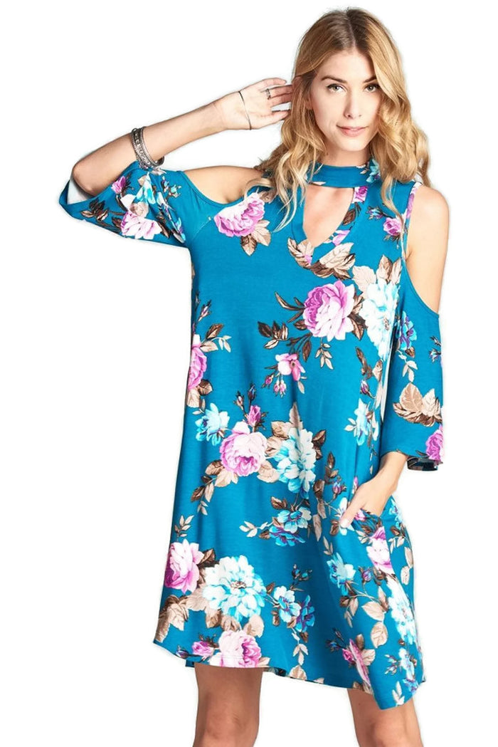 Floral Vibes Choker Swing Dress, Teal