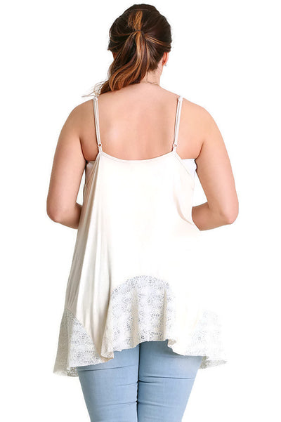 Flared Tank Top with Lace, Cream