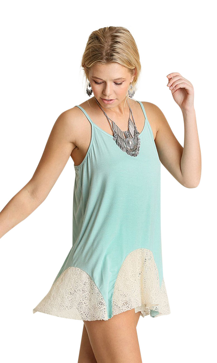 Lace Flared Tank, Mint