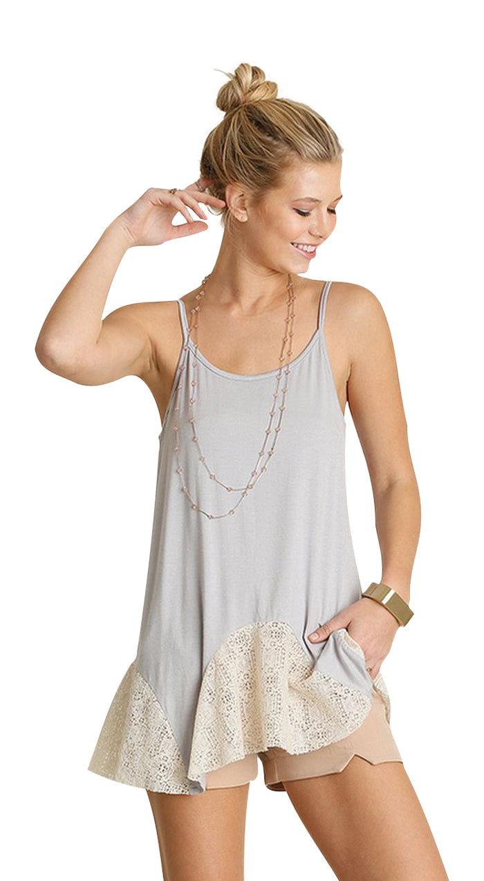 Lace Flared Tank Top, Silver