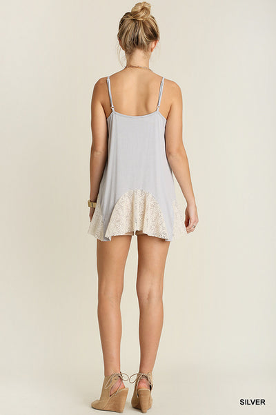 Flared Tank Top with Lace, Silver