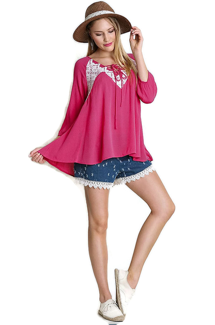 Peasant Lace Top, Magenta