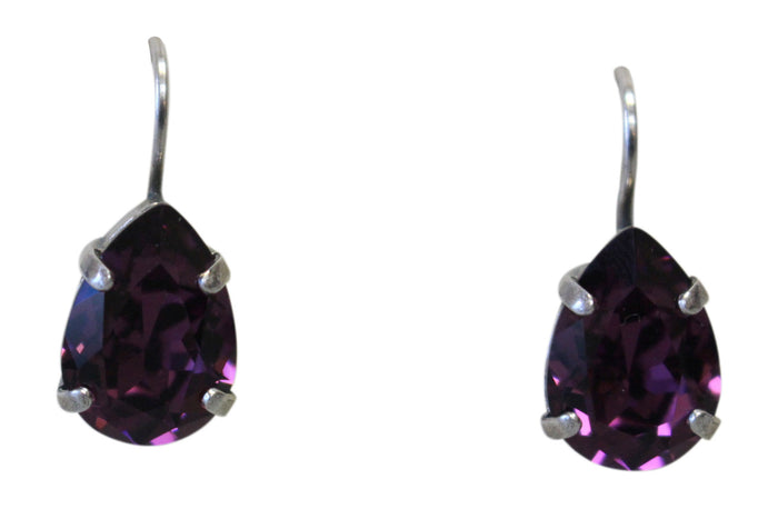 mariana amethyst tear drop earrings swarovski crystals