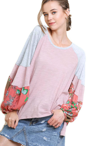 Floral Colorblock Long Sleeve Top, Blush