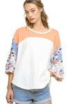 Colorblock Bell Sleeve Top, Off White