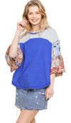 Colorblock Bell Sleeve Top, Cobalt