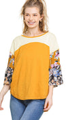 Colorblock Bell Sleeve Top, Honey