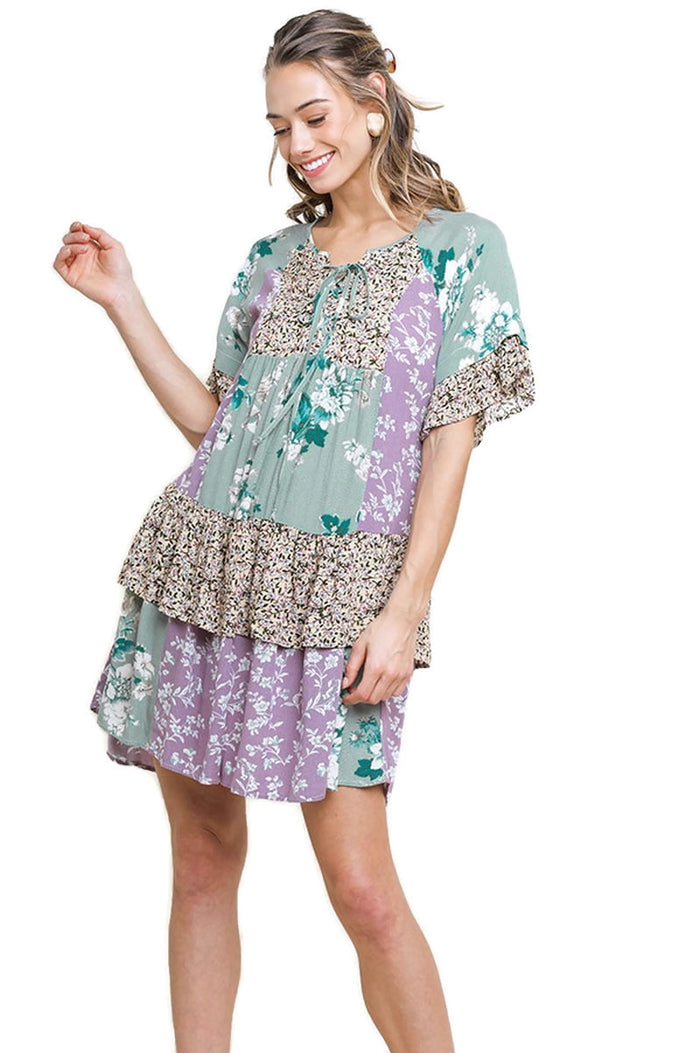 Mixed Floral Layered Ruffle Dress, Lavender / Mint