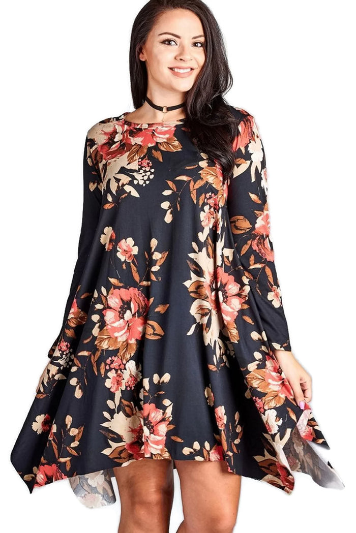 Floral Jersey Knit Trapeze Dress, Black
