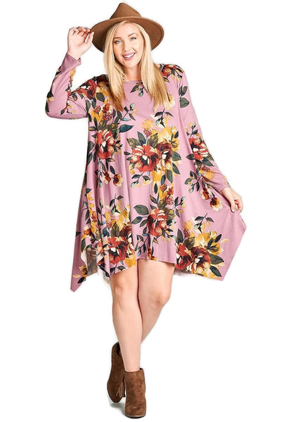 Floral Jersey Knit Trapeze Dress, Orchid