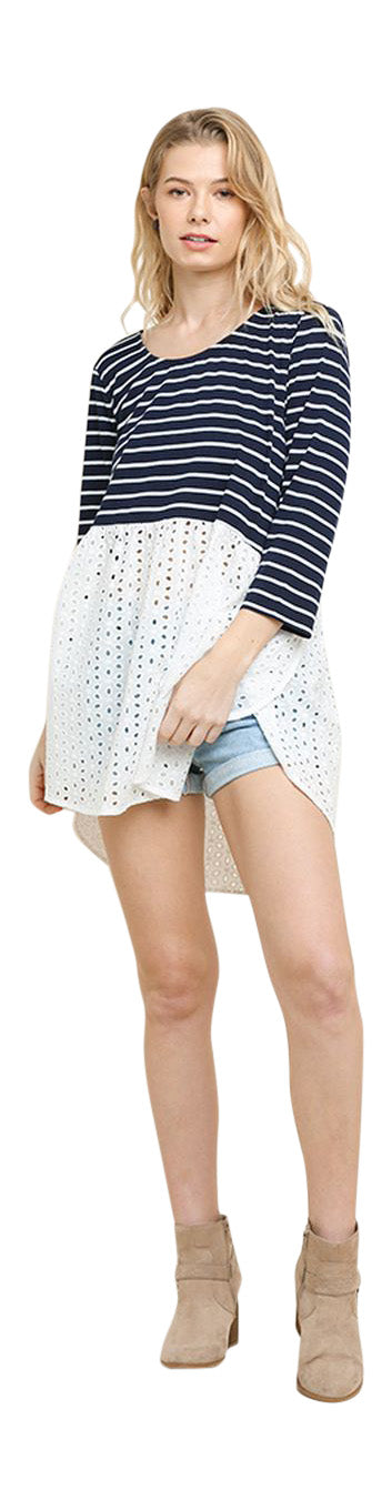 Striped & Eyelet Babydoll Top, Navy